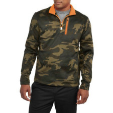 Mens Russell Athletic Poly Tech Fleece 1/4 Zip Pullover Black Green Camo DEFECT