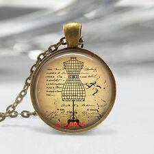 Vintage clothes Cabochon Tibetan Bronze Glass Chain Pendant Necklace #T29