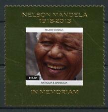 Antigua & Barbuda 2013 MNH Nelson Mandela 1v Gold Stamp Politicians Stamps