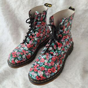 Doc Dr. Martens Poppy Pascal Combat Boots Red Purple Floral 8 Eye Boot UK 7 RARE
