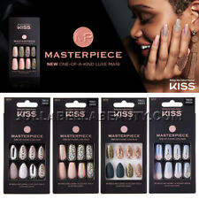 Kiss Masterpiece Press On Nails Gel Manicure Design Stone Long Square Stiletto