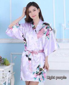 Chinese Women's Silk Satin Floral Peacock Kimono Bath Robe Nightgown Pajamas New