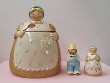 1960's Otagiri 3 Piece Set - Country Lady Cookie Jar & Salt and Pepper Shakers