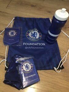Chelsea Fc Football Team Gym Sack/bag/ Water Bottle / 2 X Rain Poncho & Banner