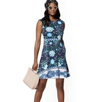Women NY&CO Blue Floral Cotton Flare Dress Size Large