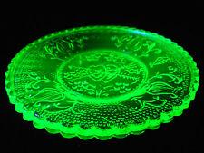 Green Vaseline heart valentines day lyre / harp glass plate uranium / instrument