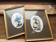 Pair Of Cute Kitsch Retro Sivone Prints/Pictures/1970's/80's/Big Eye/Framed