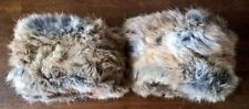 one pair of natural brown real genuine rabbit pelt fur cuffs nylon lining