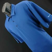 Men Nike Dri Fit Polka Dot Blue Performance Short Sleeve Golf Polo Shirt Size XL