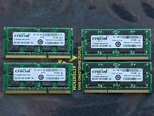 Lot of 4 Crucial 8Gb DDR3 2Rx8 PC3L-12800 Laptop RAM Memory