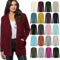 Ladies Women Long Sleeve Front Button Top Chunky Cable Knitted Grandad Cardigan
