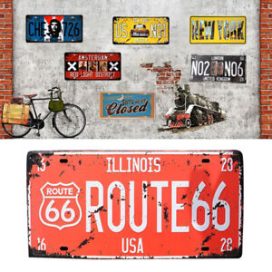 New 1PC Retro License Plate Style Wall Tin Sign Iron Metal Poster Bar Home Decor
