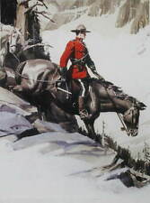 Canadian Mountie RMCP Riding Horse down hill Arnold Friberg