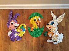 Vintage Melted Popcorn Plastic Easter Chick & Rabbits