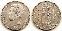 Spain-Amadeo I. 5 pesetas. 1871*18-74 DEM. Madrid. Plata 25 g. Escasa