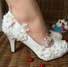 US 8 Womens Pearls Block Heel Flower Decor Wedding Bridal Lace Shoes 5cm heel