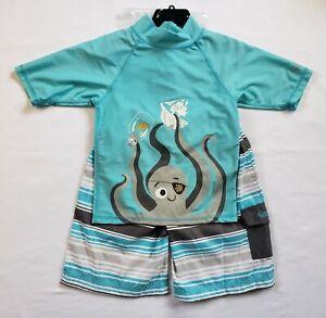 UV Skinz Boys 3-Piece Swimsuit Set Rash Guard Top Shorts & Hat Sizes 4T, 5, 6, 7