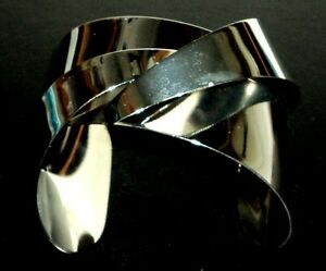 Cuff Bracelet Sterling Silver .925 With Drawstring Pouch NEW #013