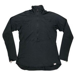 Patagonia Womens Large Base Layer Long Sleeve Shirt Mock Neck 1/4 Zip Black Warm