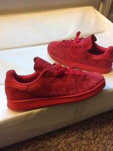 Adidas Mens Stan Smith Red Suede Athletic Shoes Sise 8