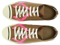 NEW BURBERRY CLASSIC CHECK NEON PINK TRAINERS SNEAKERS FLAT SHOES 35/US 5