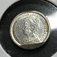 1913 NETHERLANDS SILVER 10 CENTS BETTER GRADE COIN