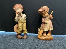 Vintage Anri Wood Carved 4 Sarah Kay Sweeping & Kitty & Shy Boy
