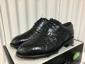 Justin Golf Shoes Classic Saddle Caiman Alligator Exotic Leather 12 fj footjoy