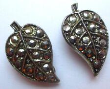 boucles d'oreilles clips ancien bijou vintage couleur argent marcassites 731
