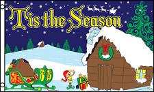 Tis The Season Flag 3x5 ft Cabin Snow Woods Santa Claus Sleigh Christmas Xmas