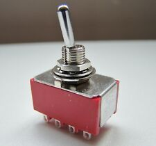 4PDT Four Pole Miniature Flick Toggle Switch On-On Double Throw Panel Mount SW22