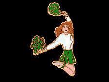 Green Pom Pom Cheerleader Cheer Leader Lapel Pin - Jump For Joy