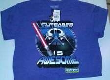 NWT Mens T-Shirt SZ L Angry Birds Graphics Blue So Cool w/ Darth Vader Pig