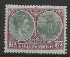 "ST. KITTS-NEVIS - 1938/50 GVI 6d ""BREAK IN OVAL"" VARIETY MINT SG.74a  (REF.A2)"