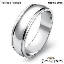 Wedding Band 6mm Women Solid Dome Step Plain Ring Platinum 950 6.9gm Sz 4 - 4.75