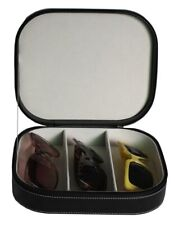 3 GLASSES BLACK OVERSIZED CASE HOLDER SUNGLASSES TRAVEL ZIPPERED  STORAGE BOX