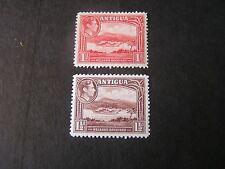 ANTIGUA, SCOTT # 85/86(2), 1p+11/2p.VALUES 1938-51 KGV1 PICTORIAL ISSUE MH