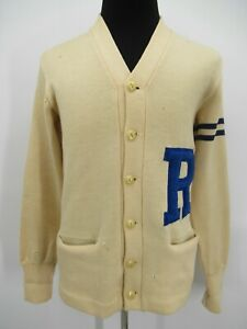 P5423 VTG 50's 60's Whiting Men's Letterman Pure Wool Cardigan Sweater