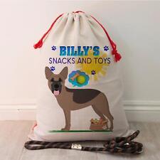 Personalised German Shepherd Dog Pet Treat Bag Puppy Toy Tidy Storage Gift Sack