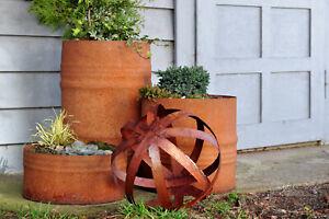 Pflanzkübel Blumentopf Pflanztopf aus 60 Liter Metall Fass Rost Optik oder Kugel