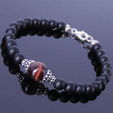 Gemstone Protection Bracelet Matte Black Onyx Tiger Eye Sterling Silver Clasp