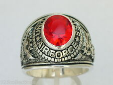 925 Silver United States Air Force Military Red Garnet CZ Stone Men Ring Size 13