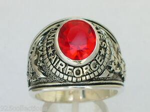 925 Silver United States Air Force Military Red Garnet CZ Stone Men Ring Size 8
