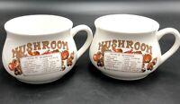 Vintage Mushroom Soup Mugs With Mushroom Soup Recipe, Set Of 2