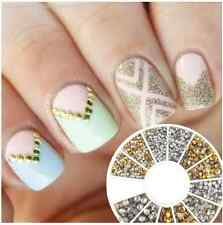 500Pcs Nail Art Studs Mini Gold Silver Round Rhinestone Tips Manicure Decoration
