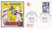 Enveloppe 1er jour FDC Soie 1967 : Victoire de Bir-Hakeim