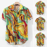 Mens Hawaiian Shirts Floral Beach Aloha Top Short Sleeve Casual Loose Fit Blouse