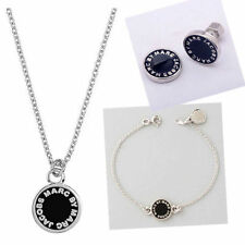 HOT SALE MARC CLASSIC NECKLACE EARRING BRACELET BLACK SILVER SET #S001
