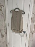 Elie Tahari Women's 100% Silk Grey Sleeveless Top Size XS Floral Lace & Beading
