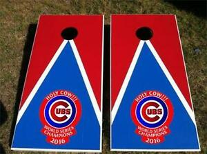 Chicago Cubs World Series Champions Cornhole Bean Bag Toss DECALS Large set red